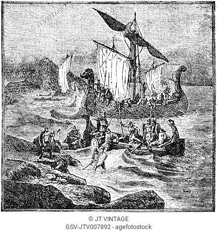Normanen, Viking Ships, Engraving, 1889