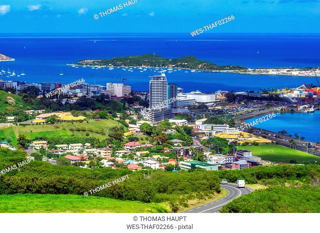 New Caledonia, Noumea, cityview and New Caledonian barrier reef