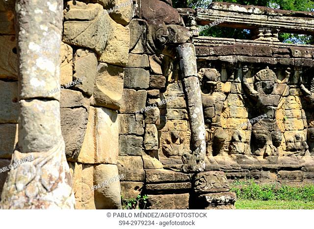 Terrace of the elephants, Angkor Thom, Angkor area, Siem Reap, Cambodia