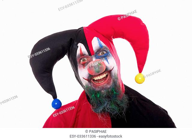 Portrait of a funny jester, isolated on white, concept halloween and horror
