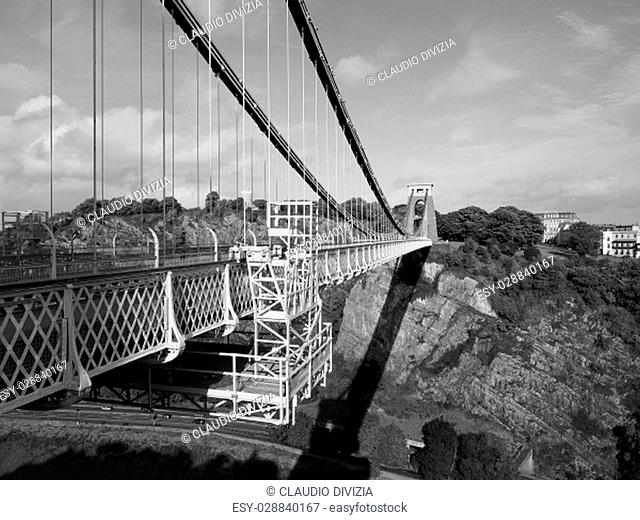 Clifton Suspension Bridge spanning the Avon Gorge and River Avon designed by Brunel and completed in 1864 in Bristol, UK in black and white