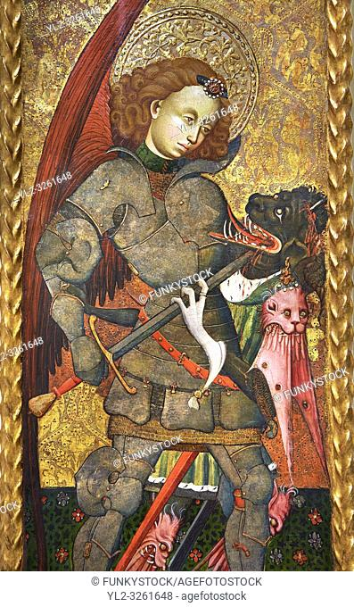 Gothic Altarpiece of Archangel Michael ( Sant Miguel Arcangel) by Blasco de Branen of Saragossa, circa 1435-1445 , tempera and gold leaf on for wood