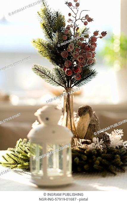 Christmas interior in natural light of sunny day