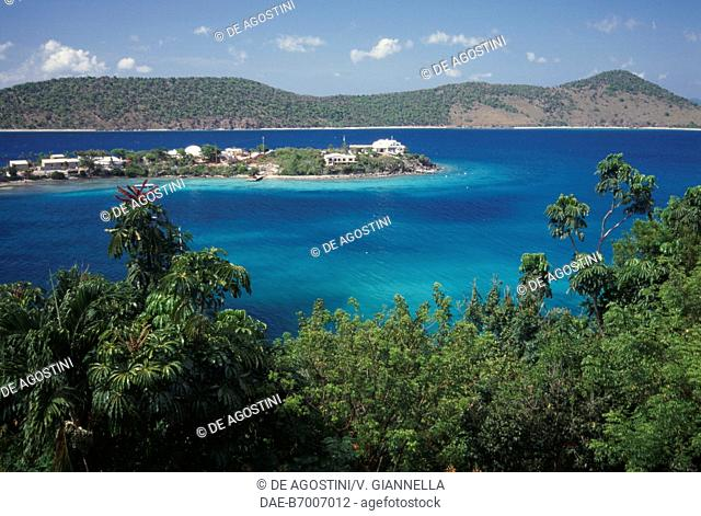 View of Water Bay with Thatch Cay Islet, Saint Thomas Island, US Virgin Islands, United States of America