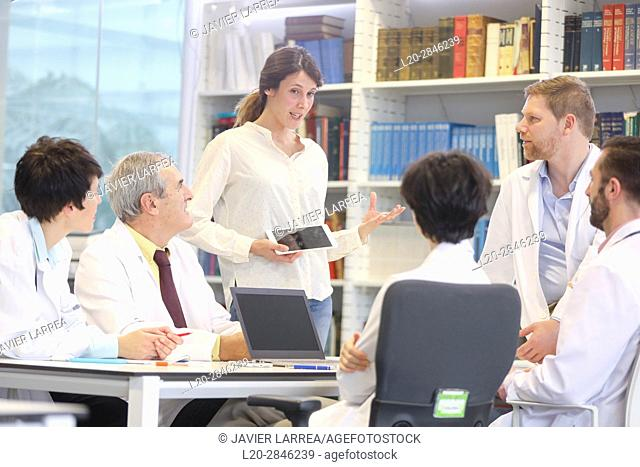 Saleswoman at doctors' meeting, clinical session, Hospital, Donostia, San Sebastian, Gipuzkoa, Basque Country, Spain