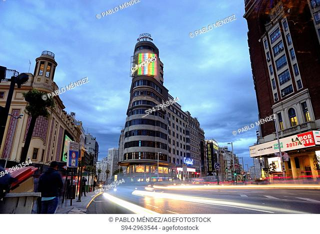Square of Callao in Gran Via street, Madrid, Spain