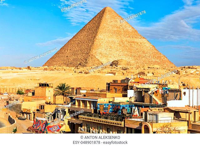 Giza town in front of the Pyramid of Cheops, Egypt