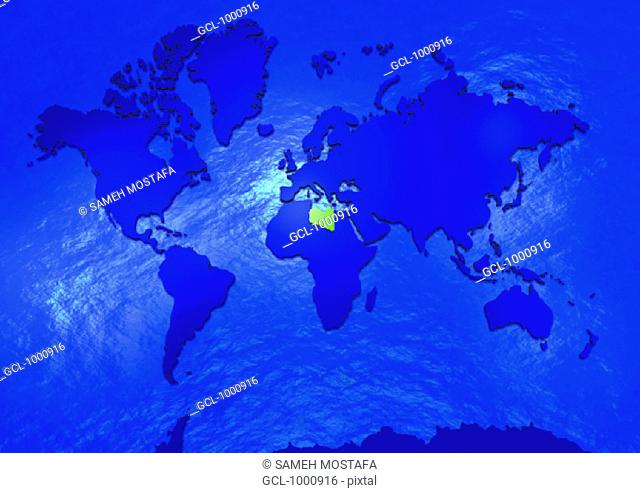 Libya in world map