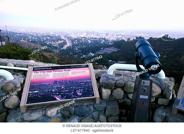 Scenic overlook of Los Angeles on Mulholland Drive. Los Angeles. California. United States