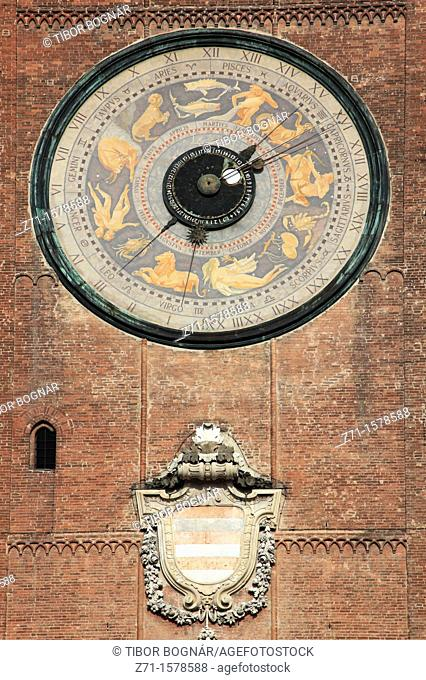 Italy, Lombardy, Cremona, Torrazzo, Bell Tower, Zodiac illustration