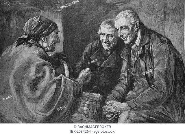Village gossip, woodcut, 1888