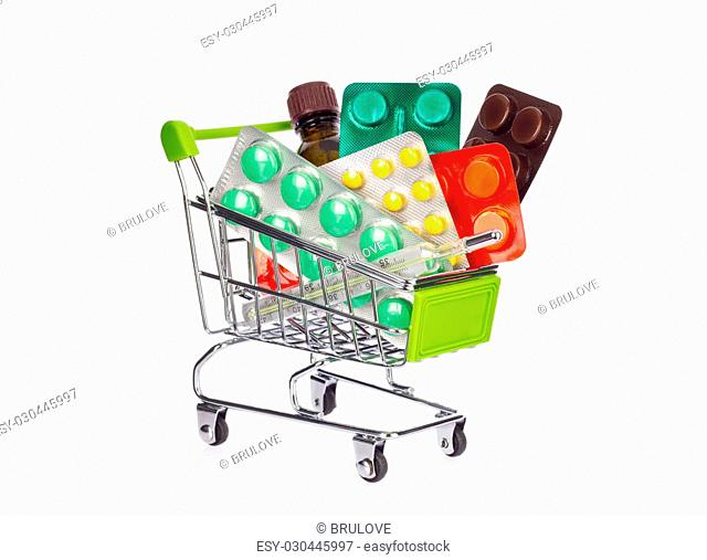 Shopping cart with medication. Isolated on white background