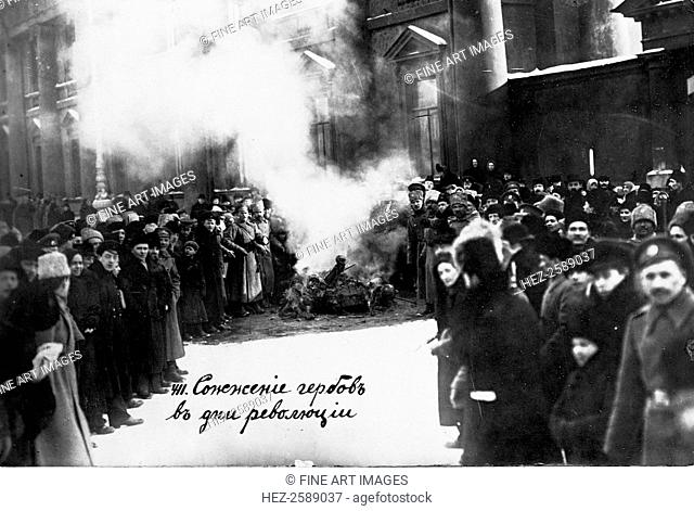 Burning Romanov Coats of Arms in Petrograd. May 1, 1917