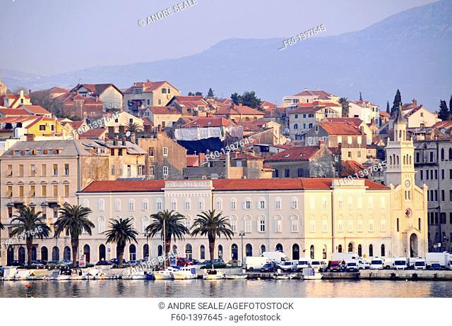 Old buildings at the waterline of Split, Croatia
