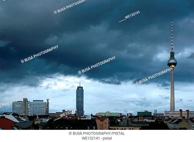 Calender concept: Skyline of East Berlin with TV Tower with different weathers