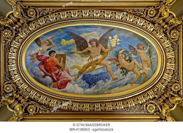 Opera Garnier, fresco, ornate ceiling by Paul Baudry, Paris, France