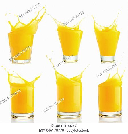 orange juice splashes set isolated on white background