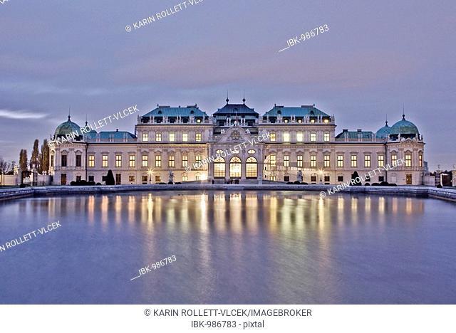 Belvedere Castle with garden pond at dusk, Vienna, Austria, Europe