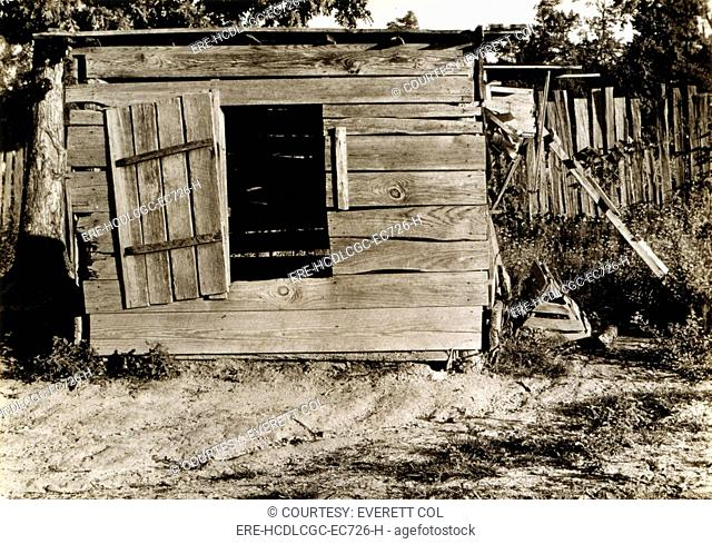 Chicken coop on the farm of Floyd Burroughs, cotton sharecropper, Hale County, Alabama. Published in the book, 'Let Us Now Praise Famous Men'