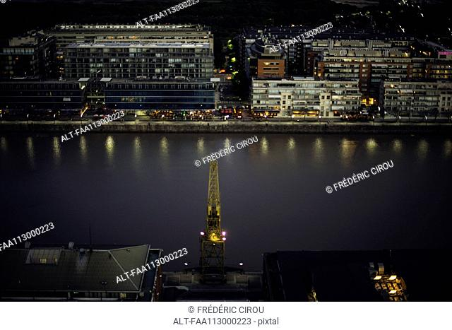 Aerial view industrial crane in urban seaport