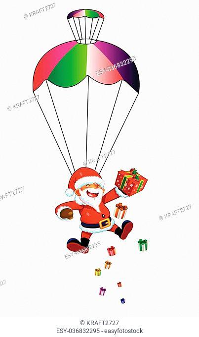 Santa Claus with a parachute. Paratrooper Santa Claus. Christmas landing