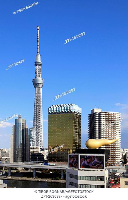 Japan, Tokyo, Sky Tree, Asahi Building, skyline,