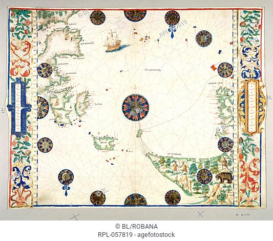 North Atlantic Ocean Whole map The North Atlantic Ocean from the east coasts of Labrador and Newfoundland to Iceland the British Isles and Spain Image taken...