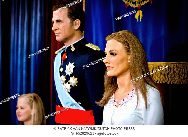 The wax figures of Spanish Princess Leonor (L-R), King Felipe and Queen Letizia seen in the Madrid Wax Museum in Madrid, Spain, 12 October 2014