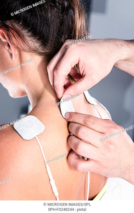 TENS treatment of neck and shoulders region