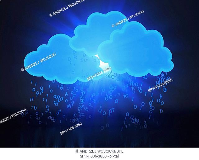 Cloud computing, conceptual computer artwork