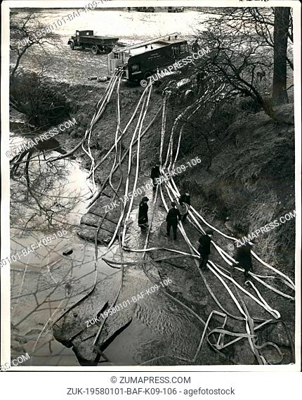 Jan. 01, 1958 - Firemen and police dam a river in search for missing girl in Lanarkshire; Firemen and police built a dam in the River Calder