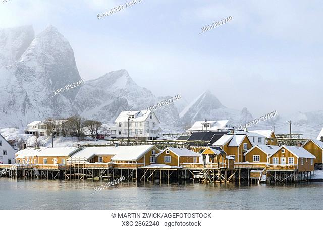 Village Reine and village Skrisoya on the island Moskenesoya. The Lofoten Islands in northern Norway during winter. Europe, Scandinavia, Norway,February