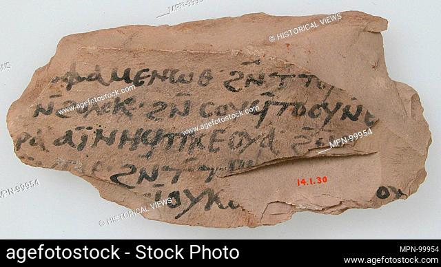Ostrakon. Date: 600; Geography: Made in Thebes, Byzantine Egypt; Culture: Coptic; Medium: Limestone with ink inscription; Dimensions: 2 3/4 x 5 9/16 in