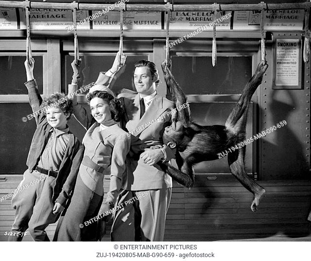 RELEASED: May 1, 1942 - Original Film Title: Tarzan's New York Adventure. PICTURED: Actors JOHNNY SHEFFIELD as Boy, MAUREEN O'SULLIVAN as Jane and JOHNNY...