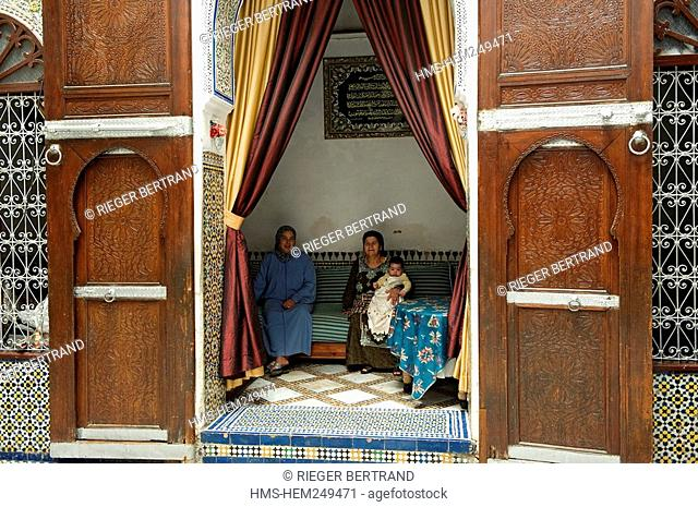 Morocco, Middle Atlas, Fez, Imperial City, Fez El Bali, medina listed as World Heritage by UNESCO, inside Lalla Fatéma's family riad which is a Bed and...