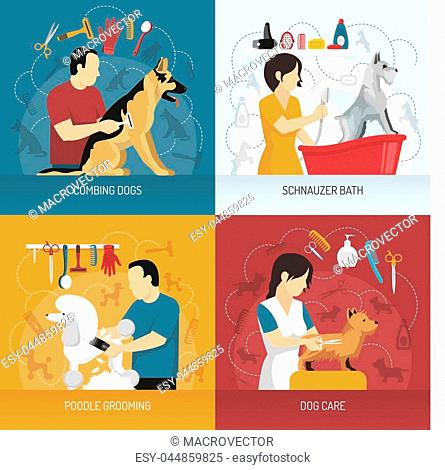 Grooming service design concept with view of hairdresser combing and bathing dogs of different breed with icons vector illustration