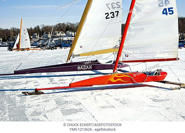 Sleek high tech iceboat on Geneva Lake winter ice