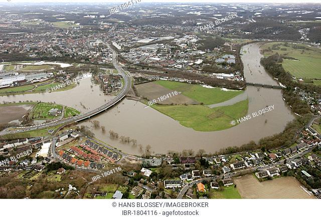Aerial view, river Ruhr flood, Hattingen, Ruhrgebiet area, North Rhine-Westphalia, Germany, Europe