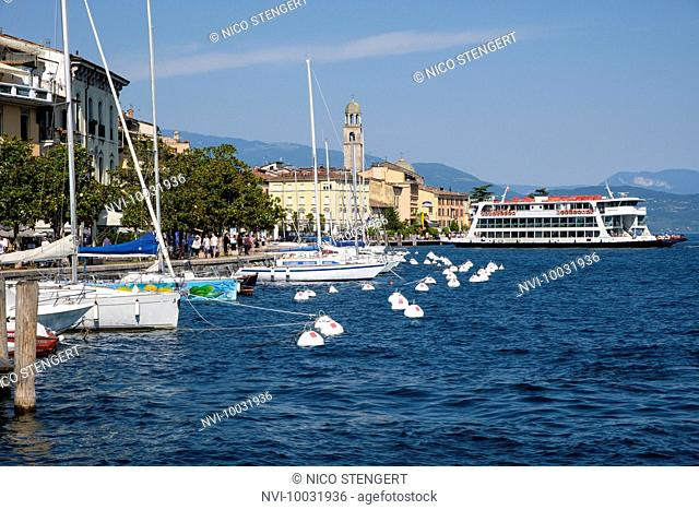 Sailing boats in the port of Salò, Lake Garda, Brescia province, Lombardy, Italy