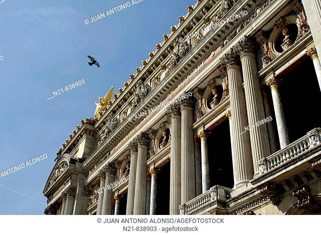 Façade of Palais Garnier or Opera National de Paris Garnier, Paris, France