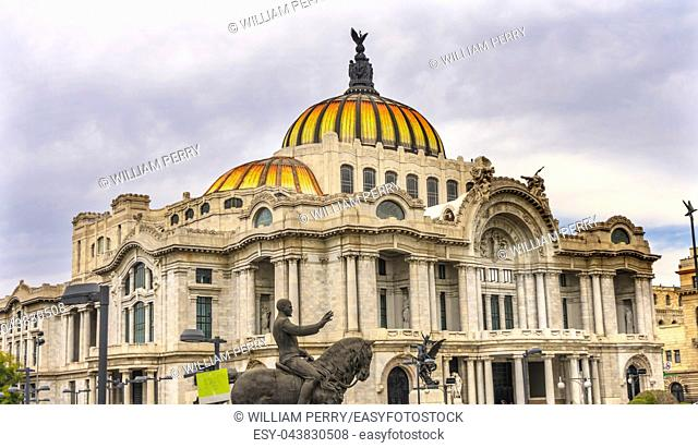 Equestrian Statue Bellas Artes Palace Mexico City Mexico. Built in 1932 as the national theater and art museum