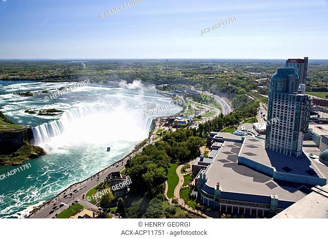 View of Horseshoe Falls and Casino from Skylon Tower, Niagara Falls, Ontario, Canada