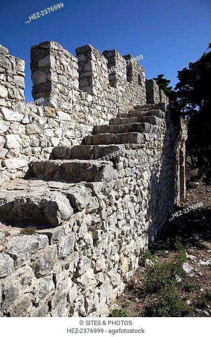 The fortress at Sesimbra, Portugal, 2009. This Moorish castle was taken from the Moors in 1165 during the Portuguese Reconquista by King Afonso Henriques (with...