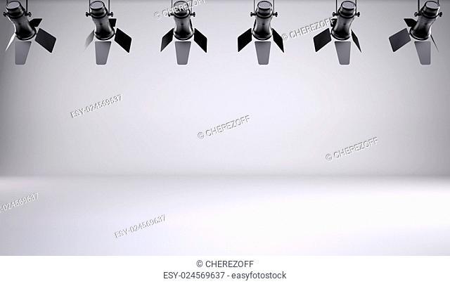 Lighting in the studio. 3d render. Gray gradient background
