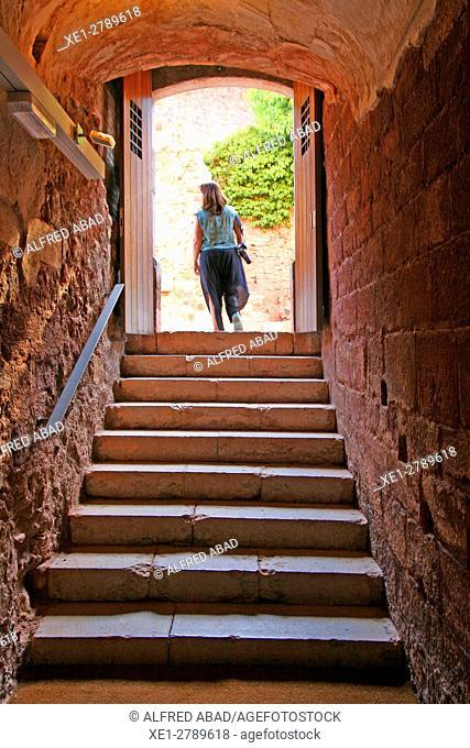 Stairs, Cartuja de Escaladei, La Morera de Montsant, Tarragona, Catalonia, Spain