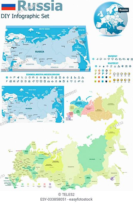 Set of the political Russia maps, markers and symbols for infographic