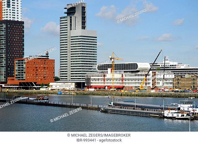 Modern architecture by the waterside: the World Port Centre, to the right of it the Las Palmas Cultural Centre, Wilhelminapier, Wilhelminaplein, Rijnhaven