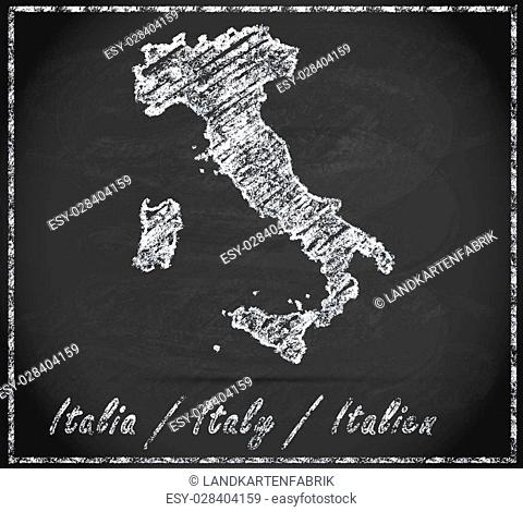 Map of Italy as chalkboard in Black and White