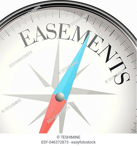 detailed illustration of a compass with Easements text, eps10 vector