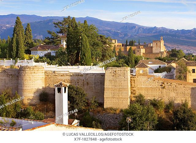 Wall of Albaicin and in background at right Alhambra, Granada Andalusia, Spain